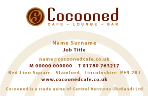 Cocooned Cafe Lounge Bar Business Card