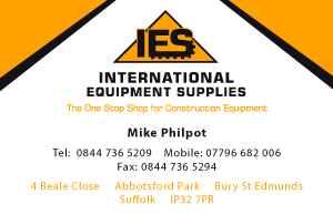 Construction Equipment Supplies Business Card