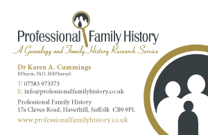 Professional Family History Business Card