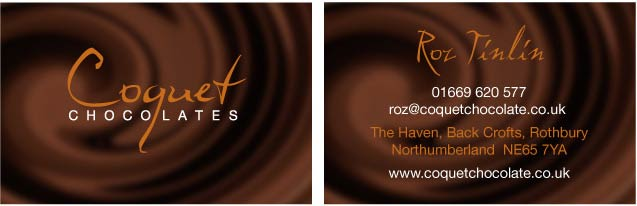 Chocolates business card sample