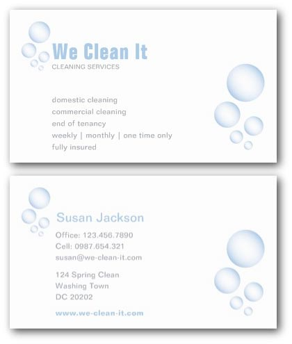 Cleaning Business Cards | Ne14 Design