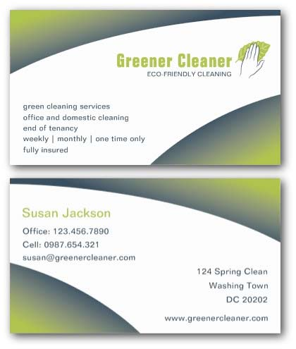 Cleaning business cards ne14 design eco friendly cleaning business card accmission Image collections