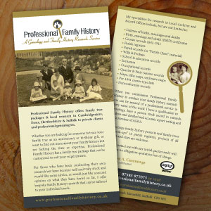 Professional Family History Flyer Front and Back