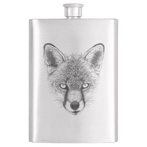 Fox Portrait Hip Flask