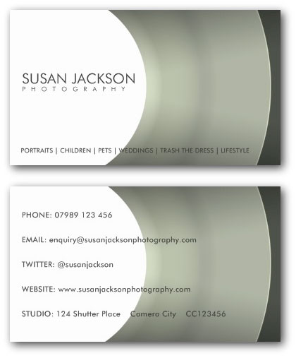Photographer business cards ne14 design camera lens photographers business card template accmission Gallery