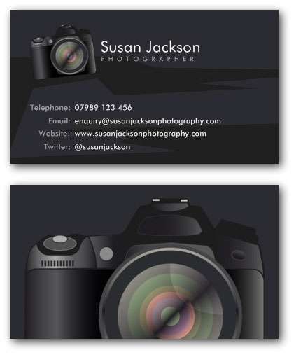 DSLR camera photography business card example