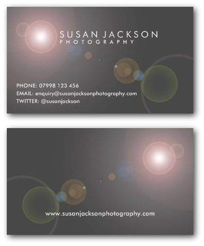 Lens flare photo business card example